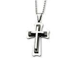 <b>Engravable</b> Chisel Stainless Steel Black Acrylic and Polished Cross Necklace style: SRN46724