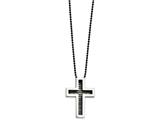 <b>Engravable</b> Chisel Stainless Steel Ip Black-plated Cross Necklace style: SRN46822