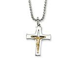 Chisel Stainless Steel 14k Gold Accent Crucifix Pendant Necklace style: SRN48622