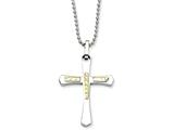 Chisel Stainless Steel 14k Accent Diamond Cut Cross Necklace style: SRN48922
