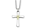 Chisel Stainless Steel 14k Accent W/ Diamond Cross Necklace style: SRN49022