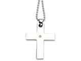 Chisel Stainless Steel 14k Accent W/ 2 Pt. Diamond Cross Necklace style: SRN49122