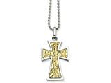 <b>Engravable</b> Chisel Stainless Steel 14k Accent Cross Pendant Necklace style: SRN49222