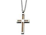 Chisel Stainless Steel Polished and Pink Ip-plated Cross Necklace style: SRN50322