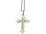 <b>Engravable</b> Chisel Stainless Steel Silver Inlay Cross Pendant 24in Necklace style: SRN50524