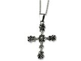 Chisel Stainless Steel Antiqued Cross Pendant Necklace style: SRN50722