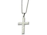<b>Engravable</b> Chisel Stainless Steel Fancy Cross Necklace style: SRN50824