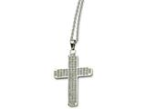 Chisel Stainless Steel CZs Cross Pendant 22in Necklace style: SRN51322