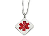 Chisel Stainless Steel Diamond Shaped Medical Pendant 22in Necklace style: SRN52422
