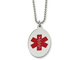 <b>Engravable</b> Chisel Stainless Steel Red Enamel Oval Medical Pendant 22in Necklace style: SRN52522