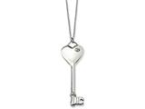 Chisel Stainless Steel Heart With CZ Key Pendant Necklace style: SRN62620
