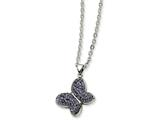 Chisel Stainless Steel Purple Crystal Butterfly Pendant Necklace style: SRN62922