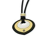 Chisel Stainless Steel Black and Yellow Ip-plated Teardrop With CZ Necklace style: SRN65022