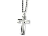 Chisel Stainless Steel Polished and Laser Cut Cross Pendant Necklace style: SRN72222
