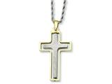 Chisel Stainless Steel Yellow Ip-plated Laser Cut Moveable Cross Necklace style: SRN72322