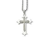 <b>Engravable</b> Chisel Stainless Steel Polished and Laser Cut Cross Pendant Necklace style: SRN72424