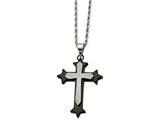 Chisel Stainless Steel Ip Black-plated Laser Cut Cross Necklace style: SRN72524