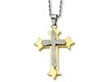 Chisel Stainless Steel Yellow Ip-plated Laser Cut Cross Necklace style: SRN72624