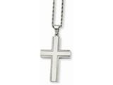 <b>Engravable</b> Chisel Stainless Steel Laser Cut Edges Cross Pendant Necklace style: SRN73224