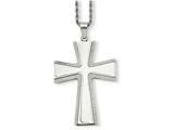 <b>Engravable</b> Chisel Stainless Steel Laser Cut and Brushed Cross Pendant Necklace style: SRN73324
