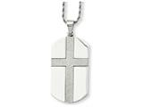 <b>Engravable</b> Chisel Stainless Steel Laser Cut Cross Center Dog Tag Necklace style: SRN73424