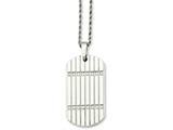 <b>Engravable</b> Chisel Stainless Steel CZ Dog Tag Pendant Necklace style: SRN73824