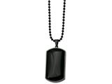 <b>Engravable</b> Chisel Stainless Steel Ip Black-plated and Black Agate Dog Tag Necklace style: SRN81130