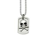 <b>Engravable</b> Chisel Stainless Steel Antiqued Skull and Cross Bones Dog Tag Necklace style: SRN83324