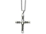 Chisel Stainless Steel Polished and Wire Cross Pendant Necklace style: SRN83622