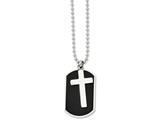 <b>Engravable</b> Chisel Stainless Steel Black-plated Dog Tag and Polished Cross Necklace style: SRN83824