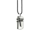 <b>Engravable</b> Chisel Stainless Steel Black Enamel Cross and Dog Tag W/cz Necklace style: SRN83924
