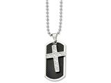 <b>Engravable</b> Chisel Stainless Steel Carbon Fiber Cross and  Dog Tag Necklace style: SRN84024