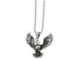 Chisel Stainless Steel Antiqued Screaming Eagle Pendant Necklace style: SRN85122