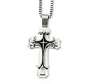 <b>Engravable</b> Chisel Stainless Steel Cross Pendant Necklace style: SRN85724