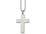 <b>Engravable</b> Chisel Stainless Steel Textured Cross Pendant Necklace style: SRN86424