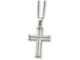<b>Engravable</b> Chisel Stainless Steel Fancy Textured Cross Pendant Necklace style: SRN86522