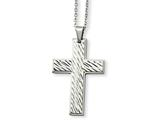 <b>Engravable</b> Chisel Stainless Steel Textured Cross Pendant Necklace style: SRN86624