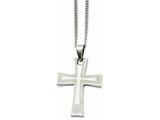 <b>Engravable</b> Chisel Stainless Steel Cross Pendant Necklace style: SRN86724