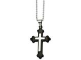Chisel Stainless Steel Ip Black-plated Cross Pendant Necklace style: SRN86924