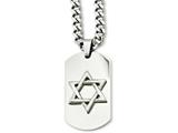 <b>Engravable</b> Chisel Stainless Steel Star Of David Dog Tag Pendant Necklace style: SRN87424