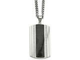 Chisel Stainless Steel Black Carbon Fiber and CZ Dog Tag Necklace style: SRN88424