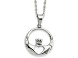 Chisel Stainless Steel Claddagh With Czs Pendant Necklace style: SRN88620