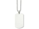 <b>Engravable</b> Chisel Stainless Steel Polished Dog Tag Pendant Necklace style: SRN90124