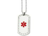 Chisel Stainless Steel Dog Tag W/cz Edge Medical Pendant 24in Necklace style: SRN90624