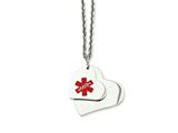 <b>Engravable</b> Chisel Stainless Steel Double Heart Medical Pendant 18in Necklace style: SRN91118