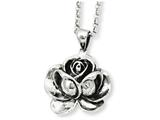 Chisel Stainless Steel Antiqued Flower Pendant Necklace style: SRN91624