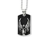 <b>Engravable</b> Chisel Stainless Steel Antiqued Wings Dog Tag Pendant Necklace style: SRN92322
