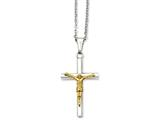 Chisel Stainless Steel Yellow Ip-plated Crucifix Pendant Necklace style: SRN93220