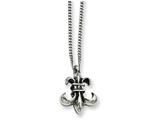 Chisel Stainless Steel Antiqued and Polished Fleur De Lis Necklace style: SRN93418