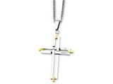 Chisel Stainless Steel Polished and Yellow Ip-plated Cross Necklace style: SRN94422